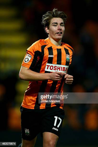 Sam Muggleton of Barnet celebrates scoring to make it 40 during the Vanarama Football Conference League match between Barnet and Southport at The...