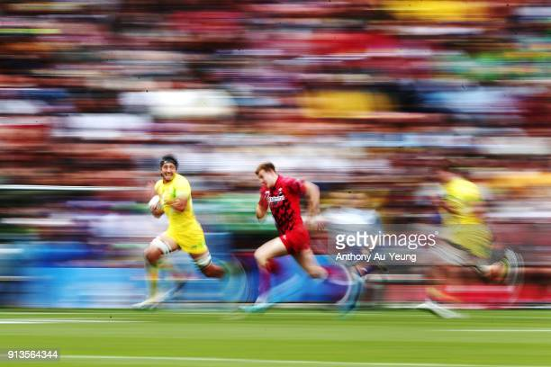 Sam Myers of Australia makes a break against Wales during the 2018 New Zealand Sevens at FMG Stadium on February 3 2018 in Hamilton New Zealand