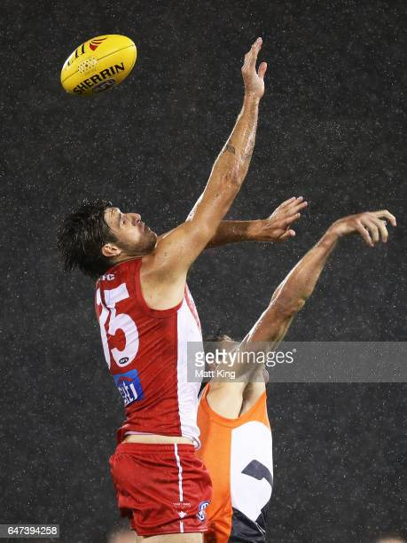 Sam Naismith of the Swans competes for the ball during the 2017 JLT Community Series AFL match between the Greater Western Sydney Giants and the...