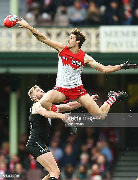 Sam Naismith of the Swans contests possession during the round 20 AFL match between the Sydney Swans and the Port Adelaide Power at Sydney Cricket...