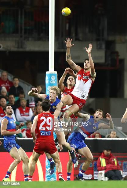 Sam Naismith of the Swans leaps for the ball during the round 12 AFL match between the Sydney Swans and the Western Bulldogs at Sydney Cricket Ground...
