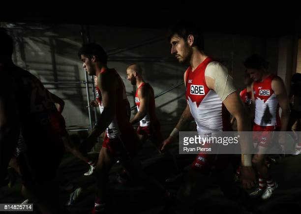 Sam Naismith of the Swans walks out onto the ground during the round 17 AFL match between the Greater Western Sydney Giants and the Sydney Swans at...
