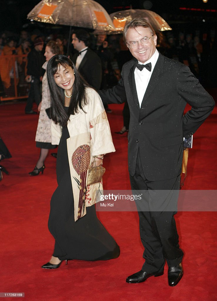 Sam Neill and guest during The Orange British Academy Film Awards 2006 - Arrivals at Odeon Leicester Square in London, Great Britain.