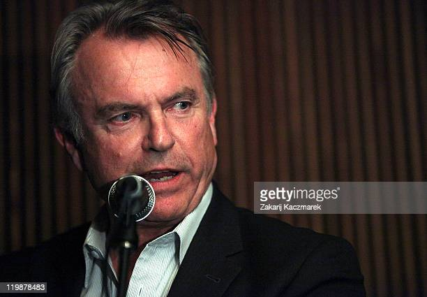 Sam Neill gives a speech at the Hope For Orphans Japan fundraising dinner to raise money to help orphans living in the Iwate prefecture following the...