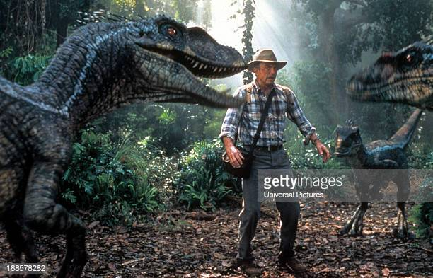 Sam Neill is confronted by three dinosaurs in a scene from the film 'Jurassic Park III' 2001