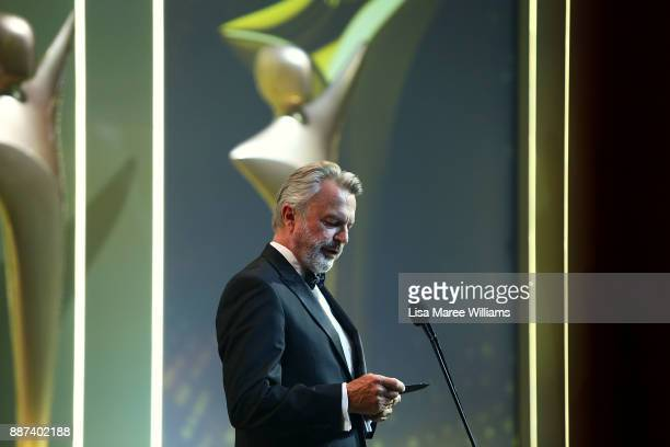 Sam Neill presents the Longford Lyell Award during the 7th AACTA Awards Presented by Foxtel at The Star on December 6 2017 in Sydney Australia