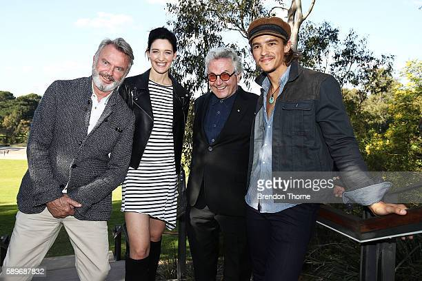 Sam Neill Tess Haubrich George Miller AO and Brenton Thwaites pose during a Tropfest press conference at Parramatta Park on August 15 2016 in Sydney...