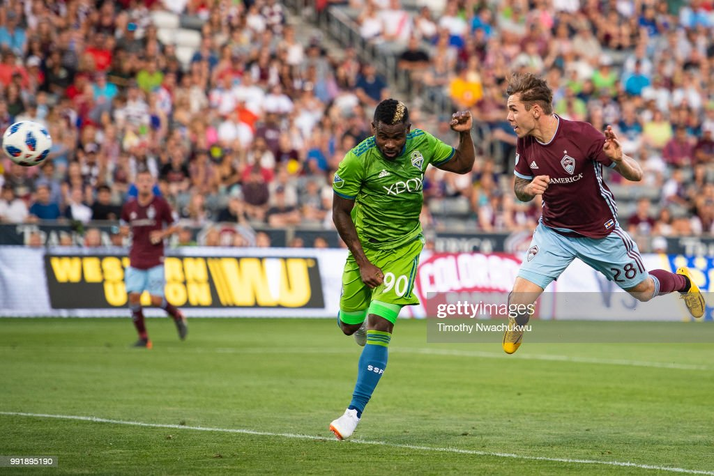 Sam Nicholson #28 of Colorado Rapids scores past Waylon Francis #90 of Seattle Sounders at Dick's Sporting Goods Park on July 4, 2018 in Commerce City, Colorado.