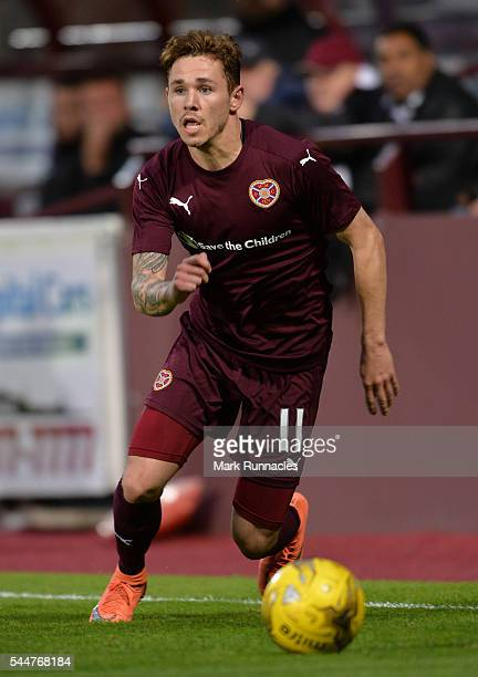 Sam Nicholson of Heats in action during the UEFA Europa League First Qualifying Round match between Heart of Midlothian FC and FC Infonet Tallinn at...