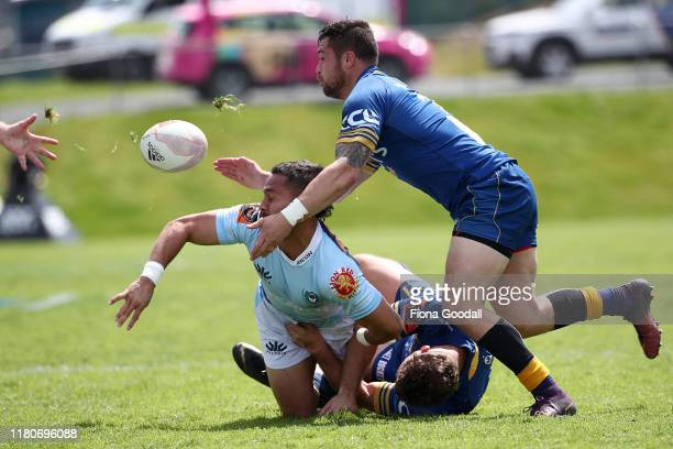 Sam Nock of Northland offloads during the round 10 Mitre 10 Cup match between Northland and Otago at Semenoff Stadium on October 13 2019 in Whangarei...