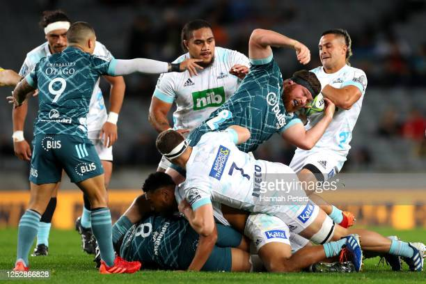 Sam Nock of the Blues rips the ball away during the round 3 Super Rugby Aotearoa match between the Blues and the Highlanders at Eden Park on June 27,...