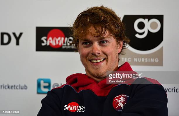 Sam Northeast Captain of Kent addresses the media during the Kent CCC Photocall at The Spitfire Ground on April 4 2016 in Canterbury England