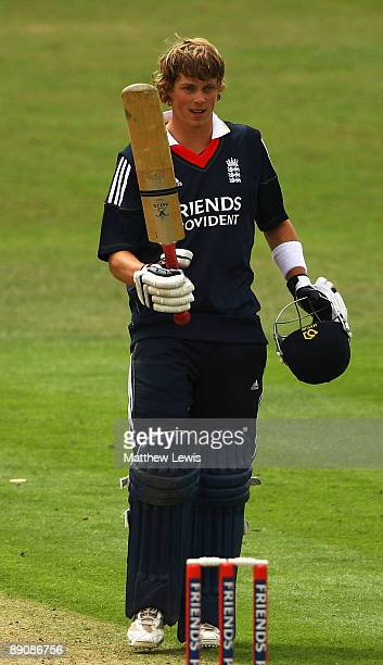Sam Northeast of England celebrates his century during the Friends Provident One Day International match between England U19 and Bangladesh U19 at...