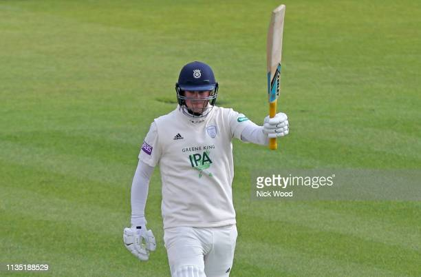 Sam Northeast of Hampshire celebrates scoring a century of runs during the Specsavers County Championship match between Hampshire and Essex on April...