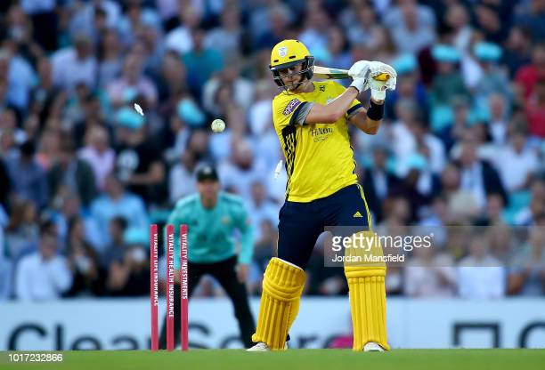 Sam Northeast of Hampshire is bowled out by Jade Dernbach of Surrey during the Vitality Blast match between Surrey and Hampshire at The Kia Oval on...