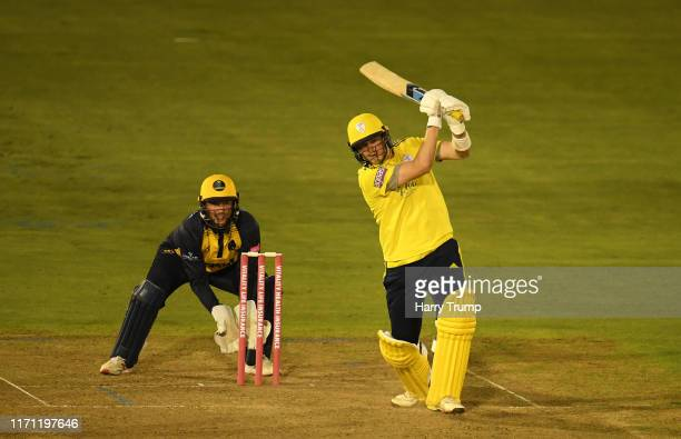 Sam Northeast of Hampshire plays a shot as Chris Cooke of Glamorgan during the Vitality Blast match between Glamorgan and Hampshire at Sophia Gardens...
