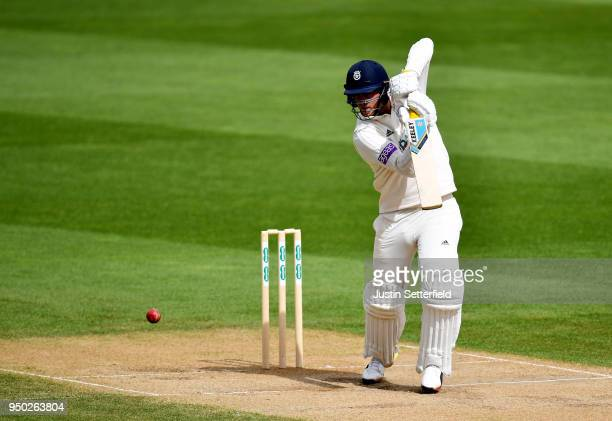 Sam Northeast of Hampshire plays a shot during the Specsavers County Championship Division One match between Surrey and Hampshire on Day 4 at The Kia...