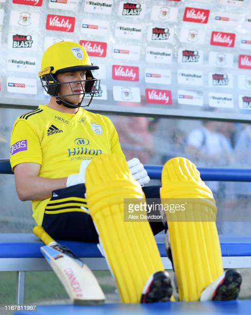 Sam Northeast of Hampshire waits to go out to bat during the Vitality Blast match between Gloucestershire and Hampshire at Bristol County Ground on...