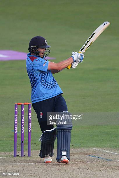 Sam Northeast of Kent hits a boundary during the Royal London OneDay Cup quarter final between Kent v Yorkshire on August 18 2016 in Canterbury...