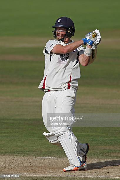 Sam Northeast of Kent hits a six to bring up his century during day 4 of the Specsavers County Championship Division 2 match between Kent v Essex on...