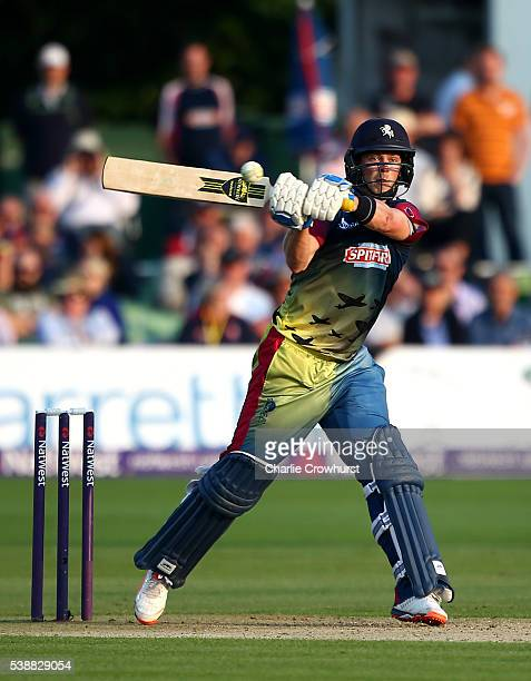 Sam Northeast of Kent hits during the NatWest T20 Blast match between Kent and Hampshire at The Spitfire Ground on June 8 2016 in Canterbury England