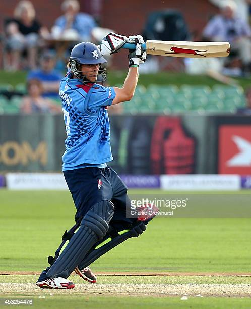 Sam Northeast of Kent hits out during Royal London OneDay Cup match between Kent Spitfires and Glamorgan at The Spitfire Ground St Lawrence on August...