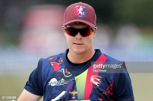 Sam Northeast of Kent leaves the pitch after his warmup during the Kent Spitfires v Essex Eagles NatWest T20 Blast cricket match at the County Ground...