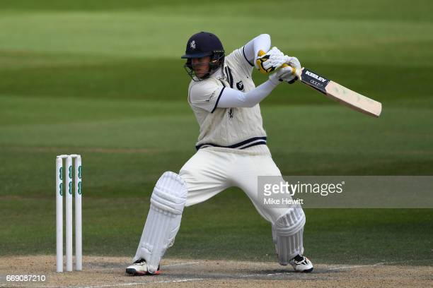 Sam Northeast of Kent on his way to a century during day three of the Specsavers County Championship Division Two match between Sussex and Kent at...
