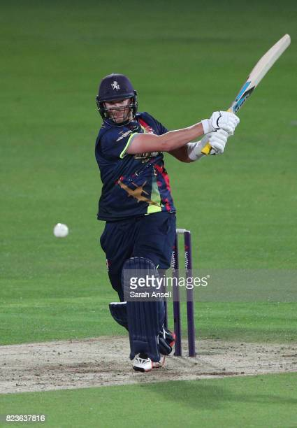 Sam Northeast of Kent Spitfires hits a boundary during the NatWest T20 Blast South Group match at The Spitfire Ground on July 27 2017 in Canterbury...