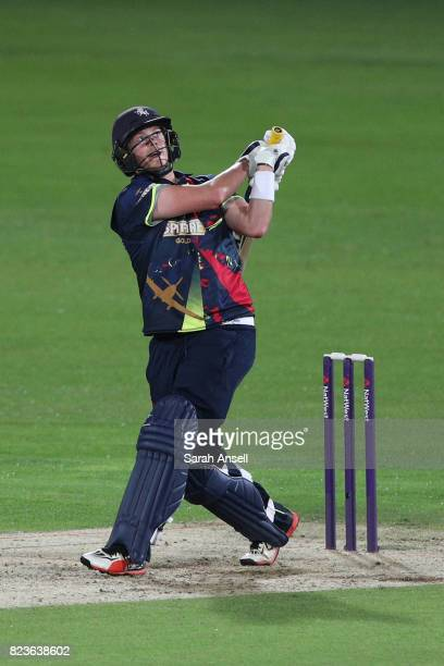 Sam Northeast of Kent Spitfires hits a huge six during the NatWest T20 Blast South Group match at The Spitfire Ground on July 27 2017 in Canterbury...