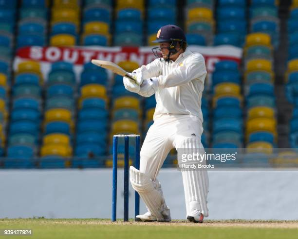 Sam Northeast of MCC hits 4 during Day Two of the MCC Champion County Match MCC v ESSEX on March 28 2018 in Bridgetown Barbados
