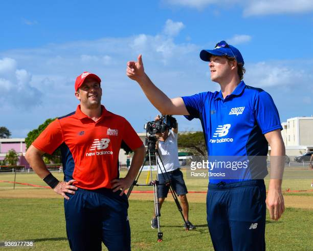 Sam Northeast of South toss the coin as Steven Mullaney of North looks on at the start of the ECB North v South Series match Three at 3Ws Oval on...
