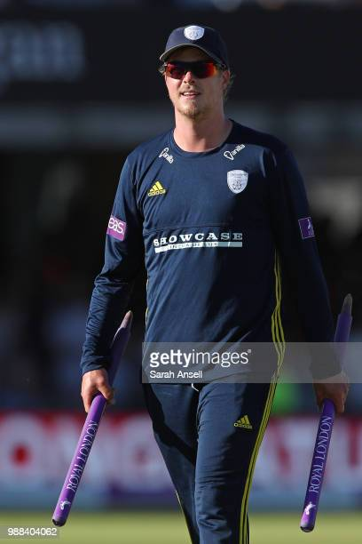 Sam Northeast of the victorious Hampshire team with two stump momentoes at the end of the Royal London OneDay Cup Final match between Kent and...