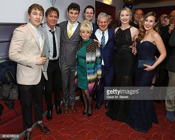 Sam O'Rourke Cliff Richard Charlie Stemp Barbara Windsor Cameron Mackintosh Emma Williams and DevonElise Johnson attend the press night after party...