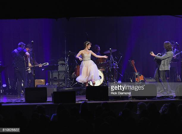Sam Palladio Clare Bowen and Jonathan Jackson perform during Nashville for Africa a benefit for the African Children's Choir at the Ryman Auditorium...