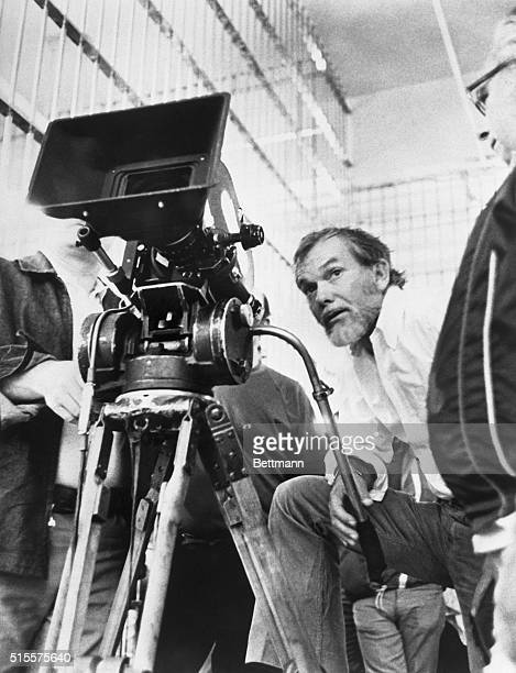Sam Peckinpah film director shown with movie camera directing a scene from the film The Getaway Undated Filed 5/4/75