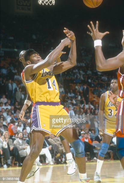 Sam Perkins of the Los Angeles Lakers in action during an NBA basketball game circa 1990 at The Forum in Inglewood California Perkins played for the...