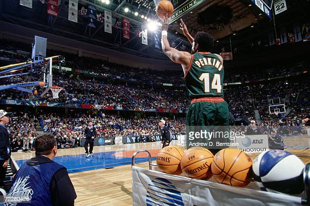 Sam Perkins of the Seattle SuperSonics shoots during the 1997 ATT Three Point Shootout on February 8 1997 at the Gund Arena in Cleveland Ohio NOTE TO...