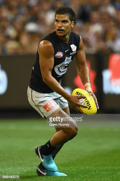 Sam PetrevskiSeton of the Blues kicks during the round one AFL match between the Richmond Tigers and the Carlton Blues at Melbourne Cricket Ground on...