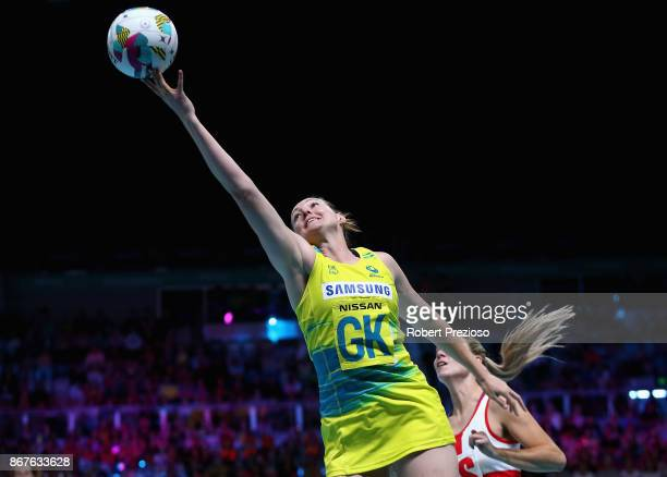 Sam Poolman of Australia gathers the ball during the Fast5 World Series Netball match between Australia and England at Hisense Arena on October 29...