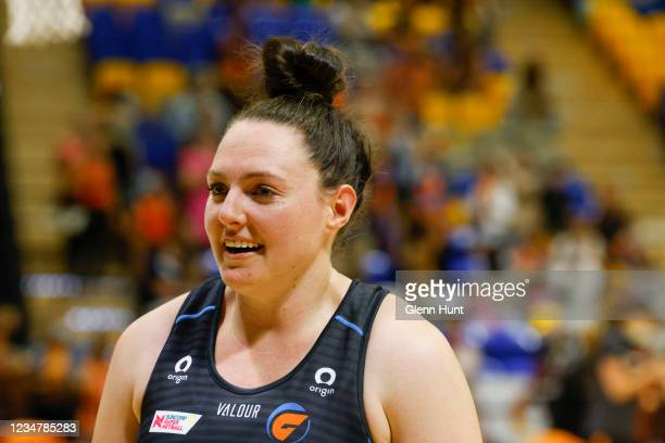 Sam Poolman of the Giants looks on during the Preliminary Final Super Netball match between the GWS Giants and West Coast Fever at University of...