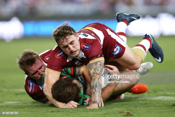 Sam Powell of Wigan tackles during the NRL trial match between the South Sydney Rabbitohs and Wigan at ANZ Stadium on February 17 2018 in Sydney...