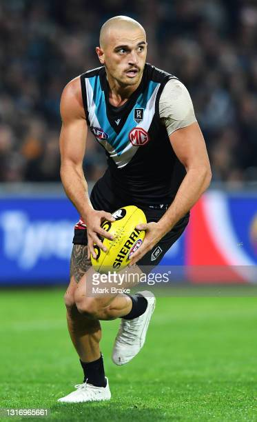 Sam Powell-Pepper of Port Adelaide during the round eight AFL match between the Port Adelaide Power and the Adelaide Crows at Adelaide Oval on May...