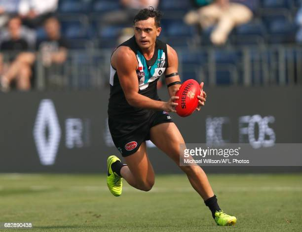 Sam PowellPepper of the Power in action during the 2017 AFL round 08 match between the Gold Coast Suns and Port Adelaide Power at Jiangwan Sports...