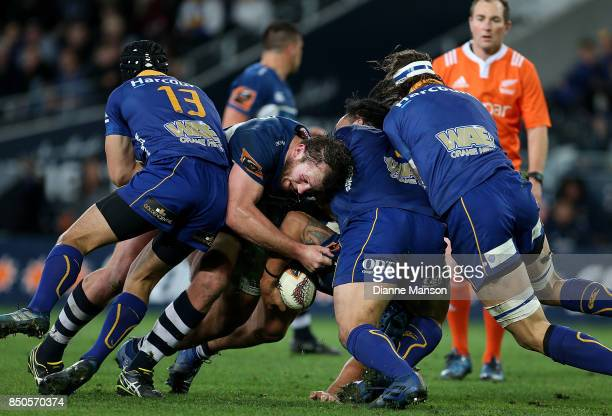 Sam Prattley of Auckland tries to break through the defence during the round six Mitre 10 Cup match between Otago and Auckland at Forsyth Barr...