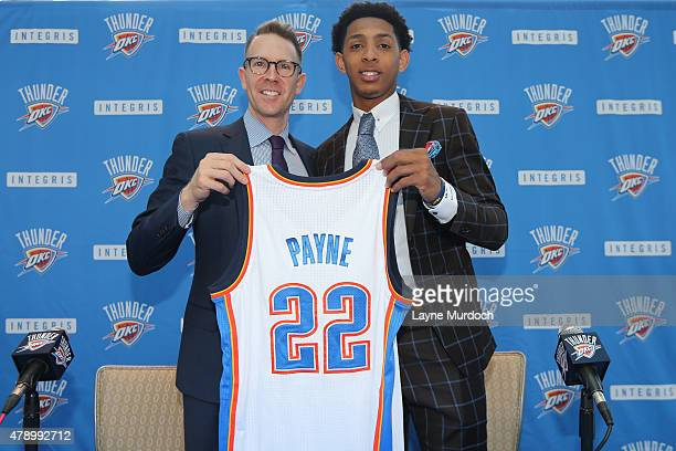 Sam Presti and Cameron Payne of the Oklahoma City Thunder pose for a picture on June 27 2015 at Devon Tower in Oklahoma City Oklahoma NOTE TO USER...