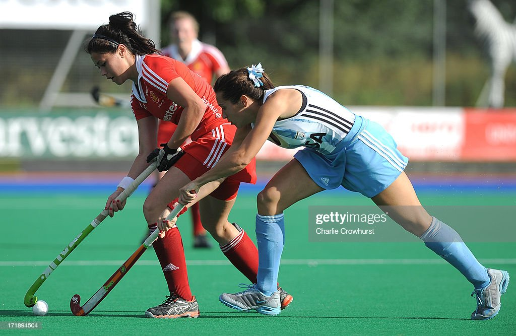 Sam Quek of England holds the ball up during the Investec Hockey World League - Semi Finals match between Argentina and England at The University of Westminster Sports Ground on June 29, 2013 in London, England.