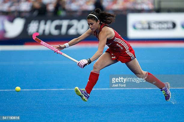 Sam Quek of Great Britain during controls a pass the FIH Women's Hockey Champions Trophy 2016 match between the Netherlands and Great Britain at...