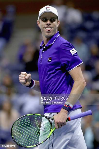 Sam Querrey celebrates match point against Mischa Zverev of Germany on Day Seven of the 2017 US Open at the USTA Billie Jean King National Tennis...