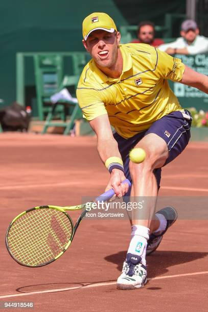 Sam Querrey hits a return shot during his match against Guido Pella during the 2018 US Men's Clay Court Tennis Championships on April 11 2018 at...